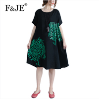 F JE 2017 Summer New Arts Style Brand Dresses High Quality Vintage Cotton Linen Print Dress