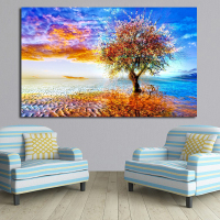 QCART Home Decor Abstract Colorful Earth Trees Artistic Painting Print On Canvas Wall Picture Modern No