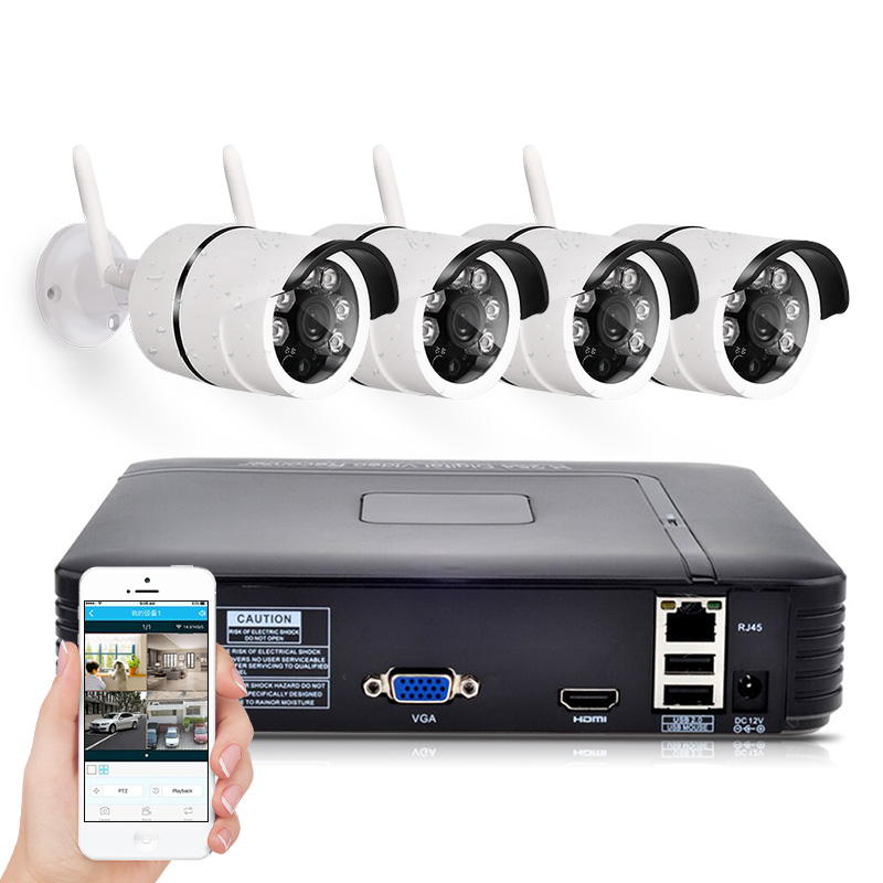 Mini NVR Full HD 4 Channel Security System IP Camera Android ios APP Control CCTV font