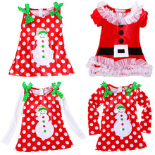 2016 New Christmas Dress Santa Claus Baby Girls Clothes Kids Clothing Polka Dot Snow Man Costume Red Color Xmas Party Dresses