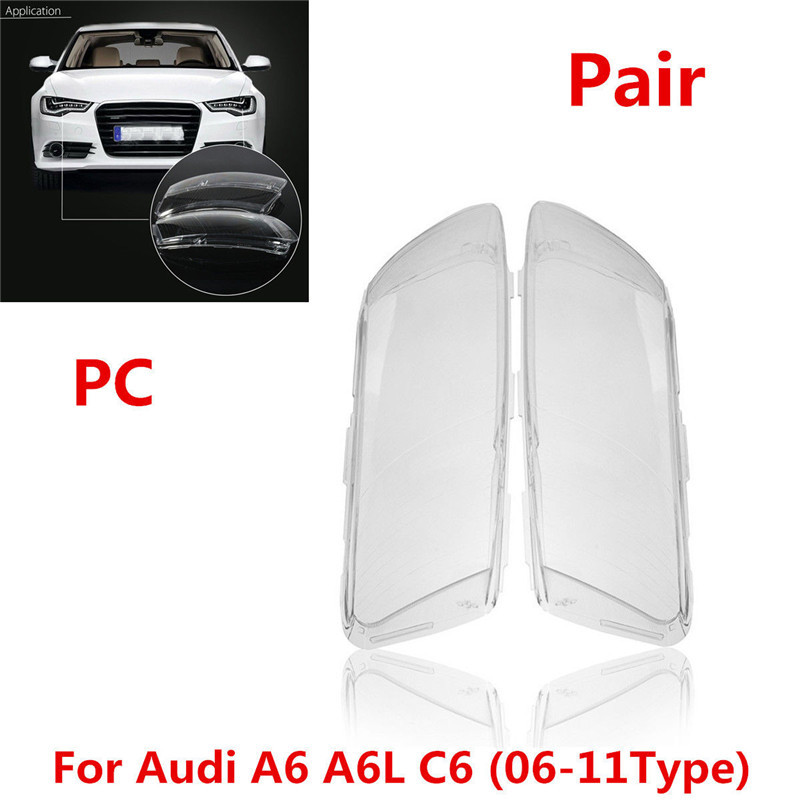 Car Headlight Headlamp Lense Clear Lens Cover Fit For Audi A6 A6L C6 2006-2011 2pc /set pair car front headlamp clear lens headlight plastic shell clear cover for bmw e90 e91 2004 2005 2006 2007