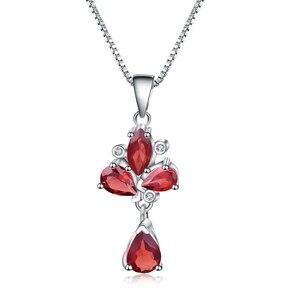 Image 5 - Pendentif fleur grenat rouge naturel, collier en argent Sterling 925, bijoux fins pour femmes, mariage, BALLET, 3.42ct