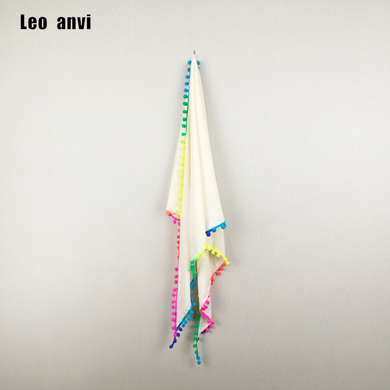Leo anvi fashion design Triangle Scarves with rainbow colors pom soft cotton Knitted Ivory white summer women scarf and shawl