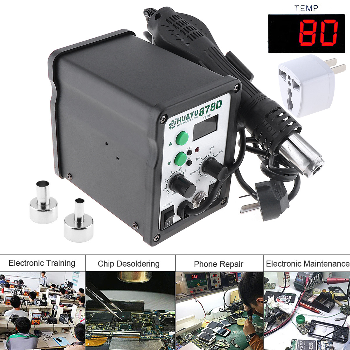 Multifunction 110V LCD Digital Display Hot-Air Desoldering Station with Electric Soldering Iron and Soldering Iron StentMultifunction 110V LCD Digital Display Hot-Air Desoldering Station with Electric Soldering Iron and Soldering Iron Stent