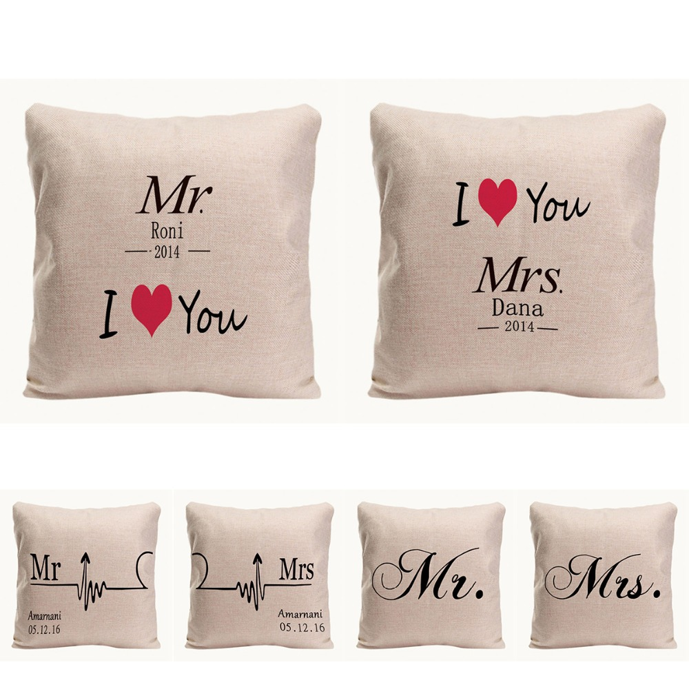 Mr. Right Mrs. Always Right Kussenhoes Home Decoratieve kussensloop - Thuis textiel - Foto 1