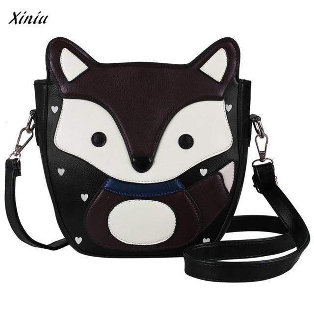 Women Cartoon Fox Campus Shoulder Bag Leather Bolsa feminina Carteras mujer Child pussy Messenger Body Bag