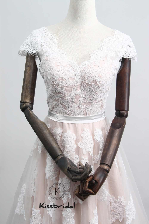 Vestido de Noiva новое розовое свадебное платье 2018 V-образный вырез Кепки платье для девочек трапециевидной формы с рукавами на фатиновое платье, свадебные платья с глубоким вырезом на спине Vestido de casamento