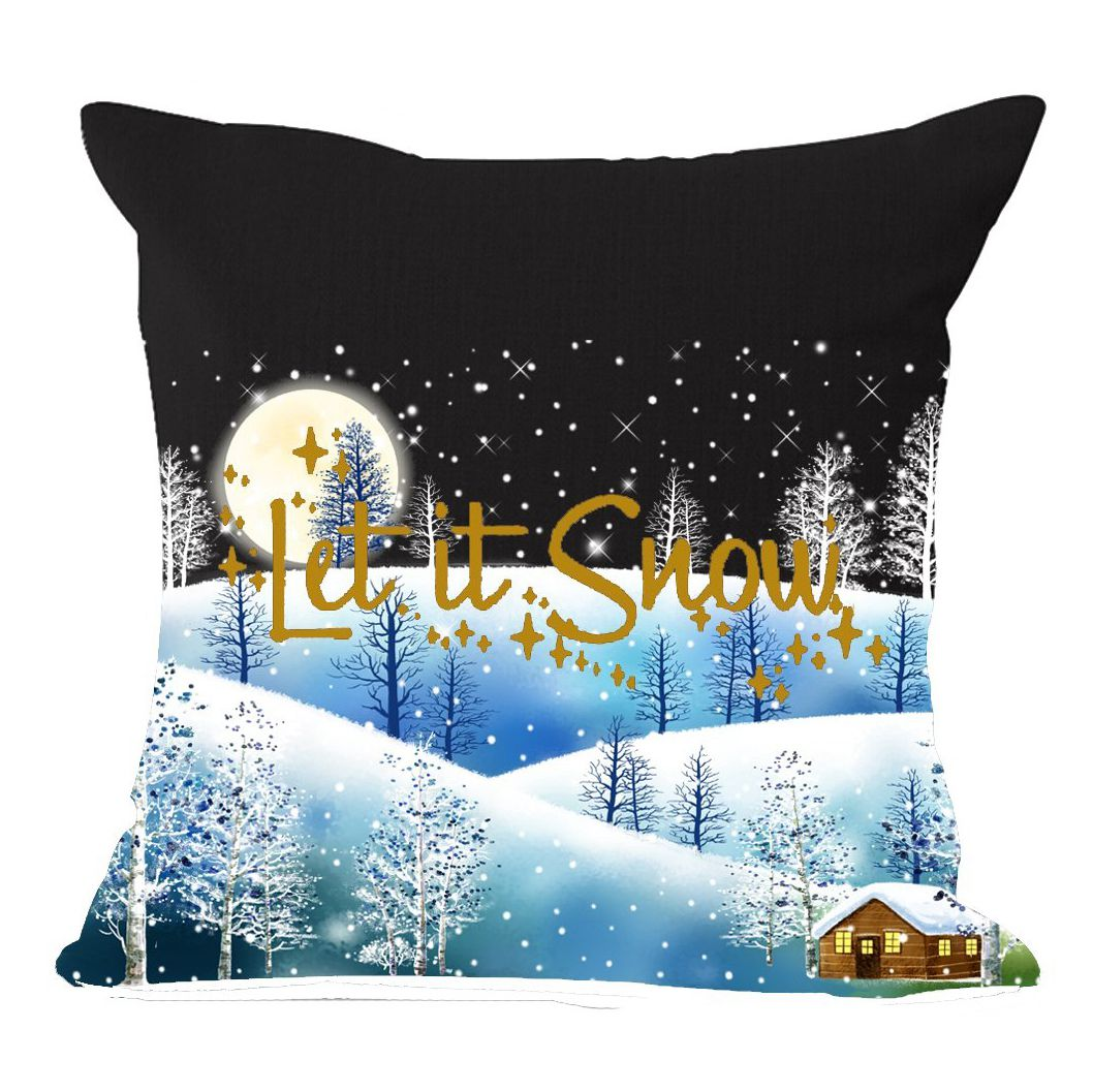 Boutique Snow Landscape Let It Snow Merry Christmas Gifts flax Throw Pillow Case Cushion Cover Home Office Sofa Car Decorative