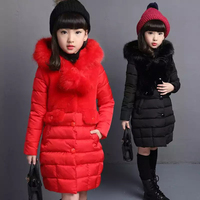 Fashion 2018 Faux Fur Hooded Baby Teenage Winter Jacket For Girls Cotton padded Girls Winter Coat Parka Kids 4 12 Years