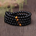 Natural Black Agate with Tiger eye Stone Beads 108 Buddha beads Men Jewelry Bracelet Lovers Energy Balance Bracelet