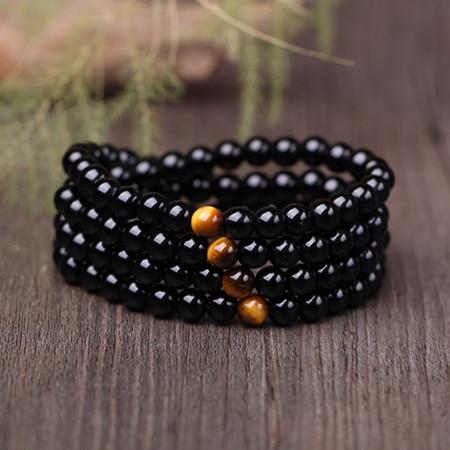 Bracelet Mala Oeil de Tigre en Onyx Noir