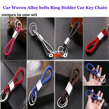 No logo 100pcs/set Auto Key Rins Car Key Chains Car Woven Rope Bags Pendant Alloy belts Holder Car Key Rings 2Rings Style