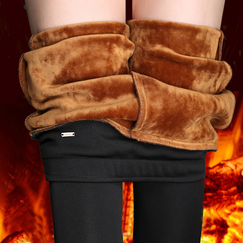 WKOUD Office Lady Pencil Pants Winter Warm Trousers High Waist Stretch Pants Women Casual Thick Skinny Fitness Leggings P8669