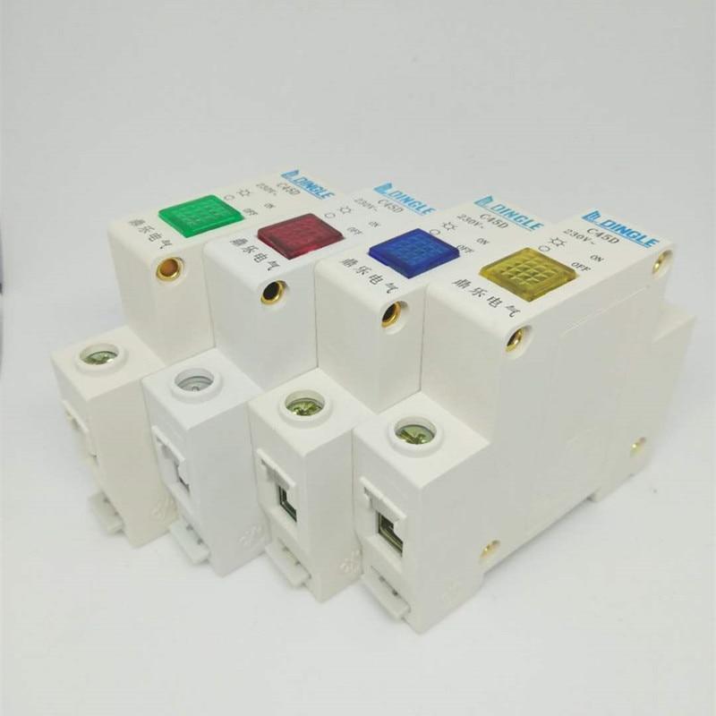 1Pcs Din Rail Mount 220V Indicator LED Lamp C45D Indicating LED Signal Light Indication Pilot Light