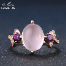 Check Price LAMOON 8x10mm 100% Natural Oval Pink Rose Quartz Ring 925 Sterling Silver Jewelry Rose Gold Romantic Wedding Band LMRI017