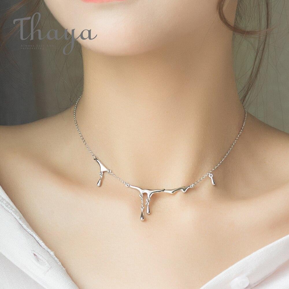 Thaya diseño Original lluvia cayendo lesión S925 collar de plata esterlina Simple gargantilla, collar de mujer regalo de la joyería para las mujeres