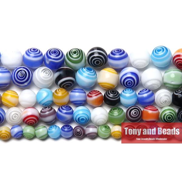 Free Shipping Multi Colors Stripe Millefiori Lampwork Glass Beads 6 8 10mm Pick Size For Jewelry Making LGB2(China)