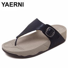YAERNI hot sell women summer Comfortable Breathable Flat sandals shoes woman flip flop Buckle causal beach sandals size 35-40(China)