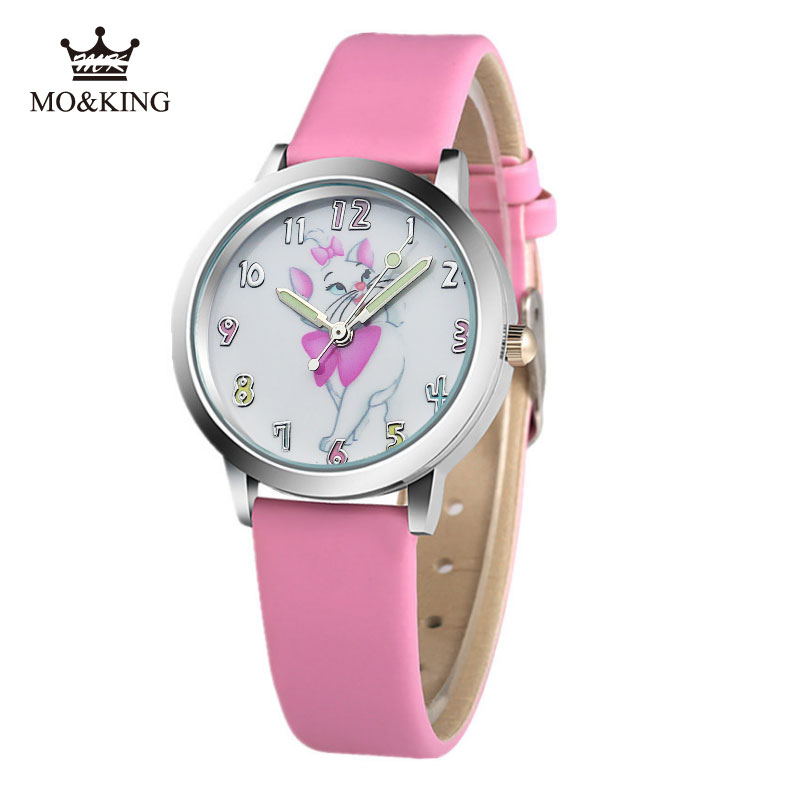 Fashion 2019 New Watch Lovely Cartoon Pictures Children's Watch Girl Boy Faux Leather Strap Band Analog Quartz Wrist Watch Cat
