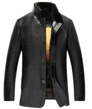Men's Golden Mink Fur Lined Lambskin Coat Luxury Genuine Fur Outwear For Men Romovable Mink Fur Lined Parka Custom (TJ10)