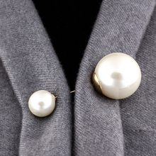 2019 High Quality Vintage Gold Brooch Pins Double Head Simulation Pearl Large Big Brooches For Women Wedding Jewelry Accessories(China)
