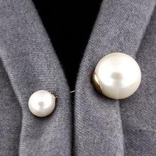 2019 wysokiej jakości Vintage Gold broszka przypinki Double Head sztuczna perła duże duże broszki dla kobiet biżuteria ślubna akcesoria tanie tanio lucky overflow Ze stopu cynku TRENDY pearl brooch Moda Kobiety Okrągły Symulowane perłowej Gold silver OPP bag China