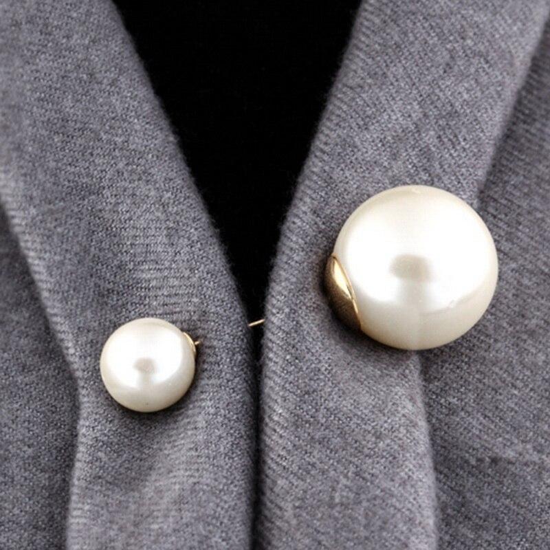 2019 Высококачественная винтажная Золотая брошь на булавке с двойной головкой, имитация жемчуга, большие броши для женщин, свадебные ювелирные аксессуары