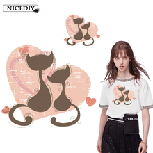 Nicediy Love Cats Patches Iron on Heat Transfer Printed Stickers Washable for Clothes Jeans T-shirts DIY Appliques Badge