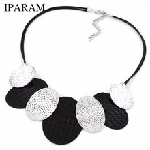 2019 New Hot Maxi Necklace Colar Big Brand Collares fine Jewelry pendants Bijoux Woman metal leather cord temperament necklace(China)