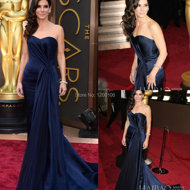 Elegante longo Vestido de noite Formal Ruched cetim até o chão sereia Vestido Oscar vestidos celebridade Sandra Bullock