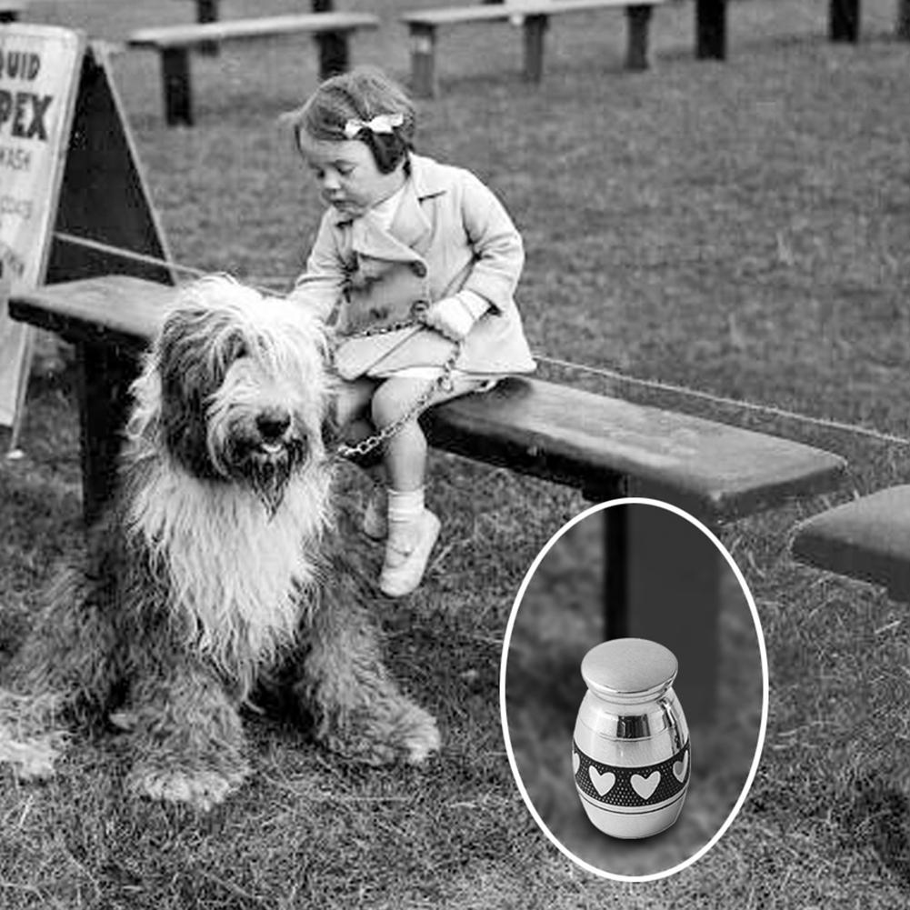 Mini Stainless Steel Paw Heart Cremation Urn Dog Pet Cinerary Funeral Casket Pet Memorials No Deformation
