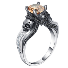 Ghost evil Skull skeleton CZ Ring European and American Punk style Motor Biker Men Ring 2017 Birthday stone skull men's jewelry