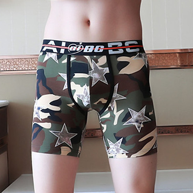 ff6fb300a4dd Mens Cotton Boxers Underwear With Floral Printing Sexy Low rise U convex  Pouch Male Boxer Shorts Underpants camouflage Big size
