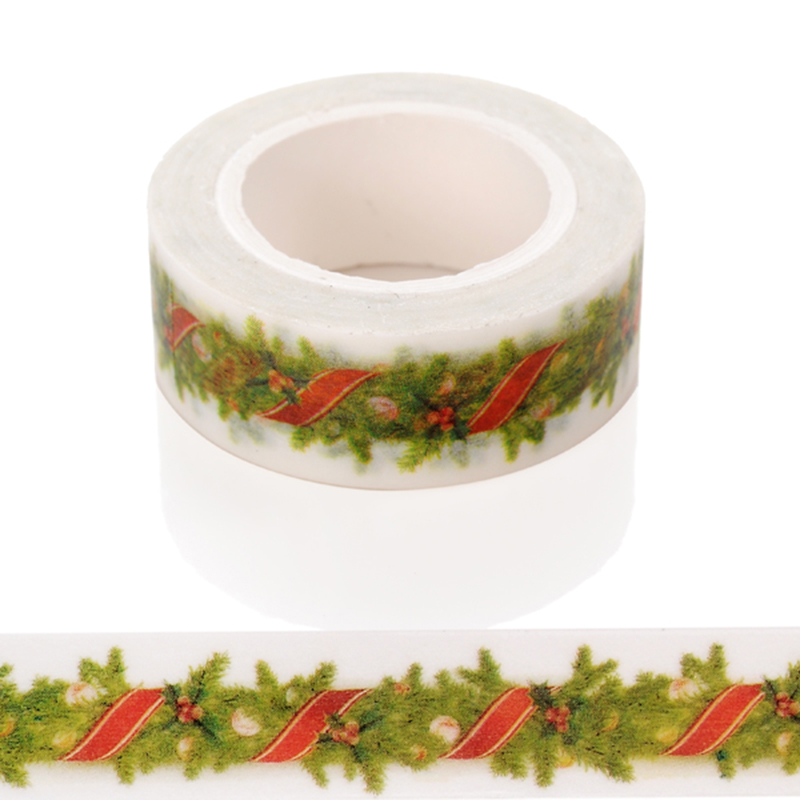 1 PC Adhesive Tape Christmas Pattern Print Scrapbooking Diy Craft Sticky Deco Masking Japanese Washi Tape Paper
