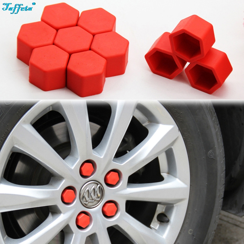Car Decorative Rust Protection Silicone Dust-proof Lug Nut Cap Styling Nut Cover Hub Bolt Car accessories Interior Wheel Covers 17mm 19mm 21mm Yellow, 21