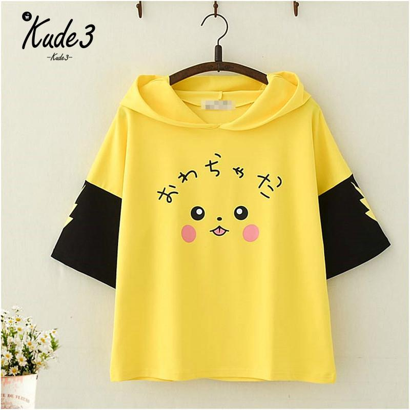 font-b-pokemon-b-font-pikachu-anime-cartoon-hooded-t-shirt-short-sleeve-mori-girls-cute-with-ears-print-harajuku-kawaii-hooded-tshirt-top-844