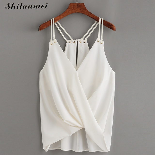 0b8d7aa75d Summer Sexy New Women Tank Top White Casual Chiffon Spaghetti Strap Crop  Tops Camis Women Slips Camisole Cami Solid Slimming