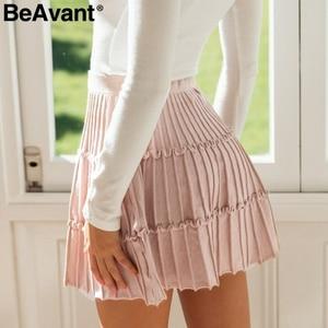 Image 5 - BeAvant plissé tricoté hiver jupes femmes une ligne à volants taille haute mini jupe femme 2019 automne rose jupes courtes dames