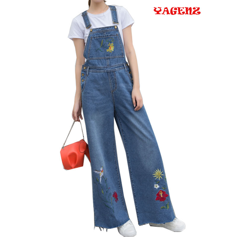 Woman Belt Pants Woman Autumn Exquisite Floral Embroideried Womens Casual Loose Denim -9887