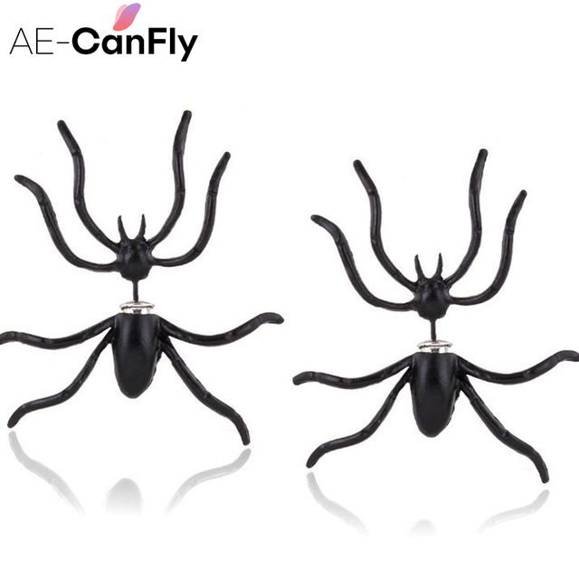AE-CANFLY 1Pair 3D Creepy Black Spider Ear Stud Earrings Lady Night Club Unique Punk Earrings for Women boucle d'oreille 1A3013