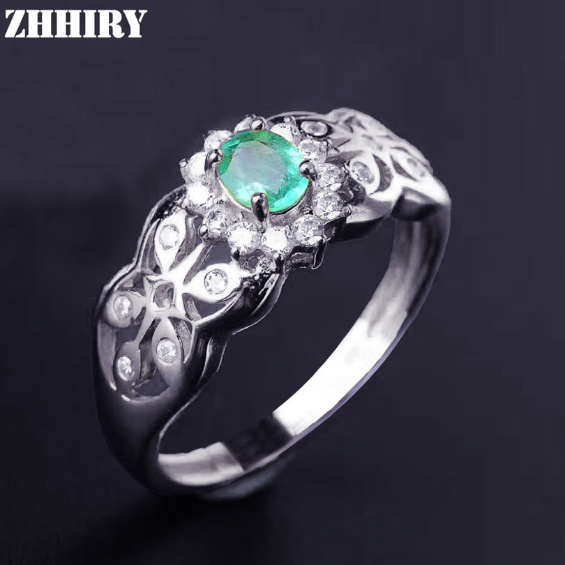 Real Emerald Ring Natural Gemstone Genuine Solid 925 Sterling Silver Woman Fine Jewelry