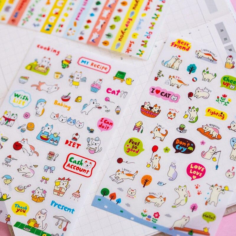 6 Pcs/pack Happy Cat Life Decorative Stationery Craft Stickers Scrapbooking DIY Stick Label