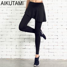 Fake Two Sports Womens Tennis Skorts Pants High Elastic Breathable Irregular Skirt Culottes Tennis Skort Gym Fitness Training