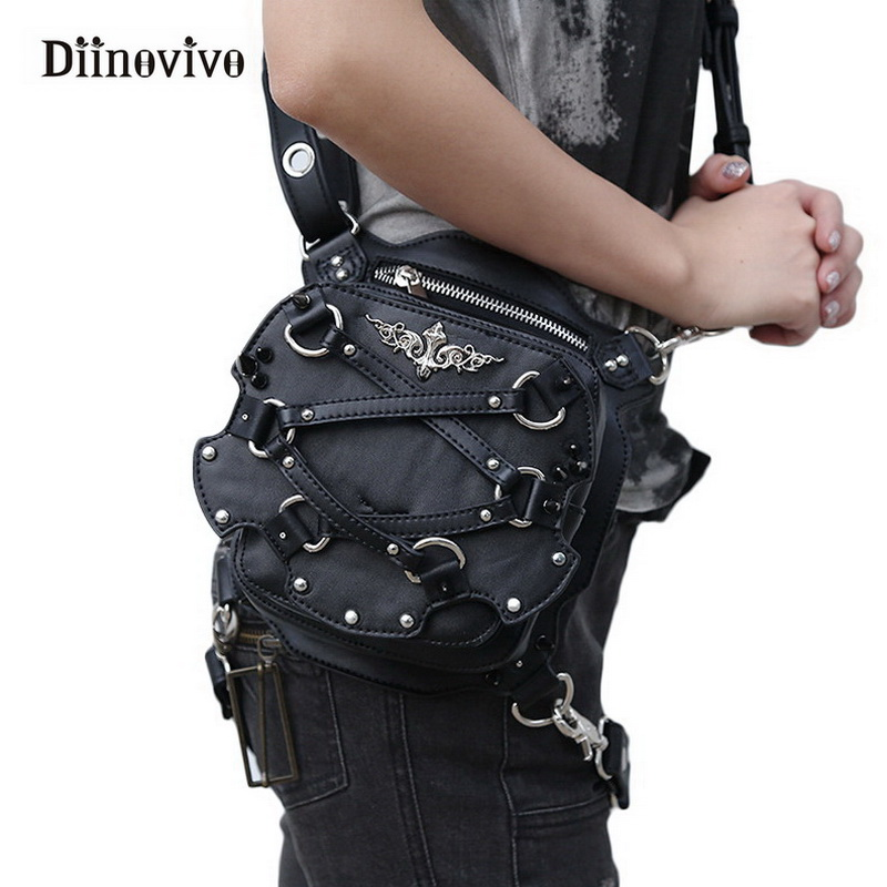 DIINOVIVO Steampunk Waist Bag Women Motorcycle Rivet Leg Bags Crossbody Bag Phone Case Holder Black Gothic Leather Bags WHDV0301 fashion new steampunk rivet shoulder bag crossbody motorcycle messenger bags gothic black pu leather women clutch handbag