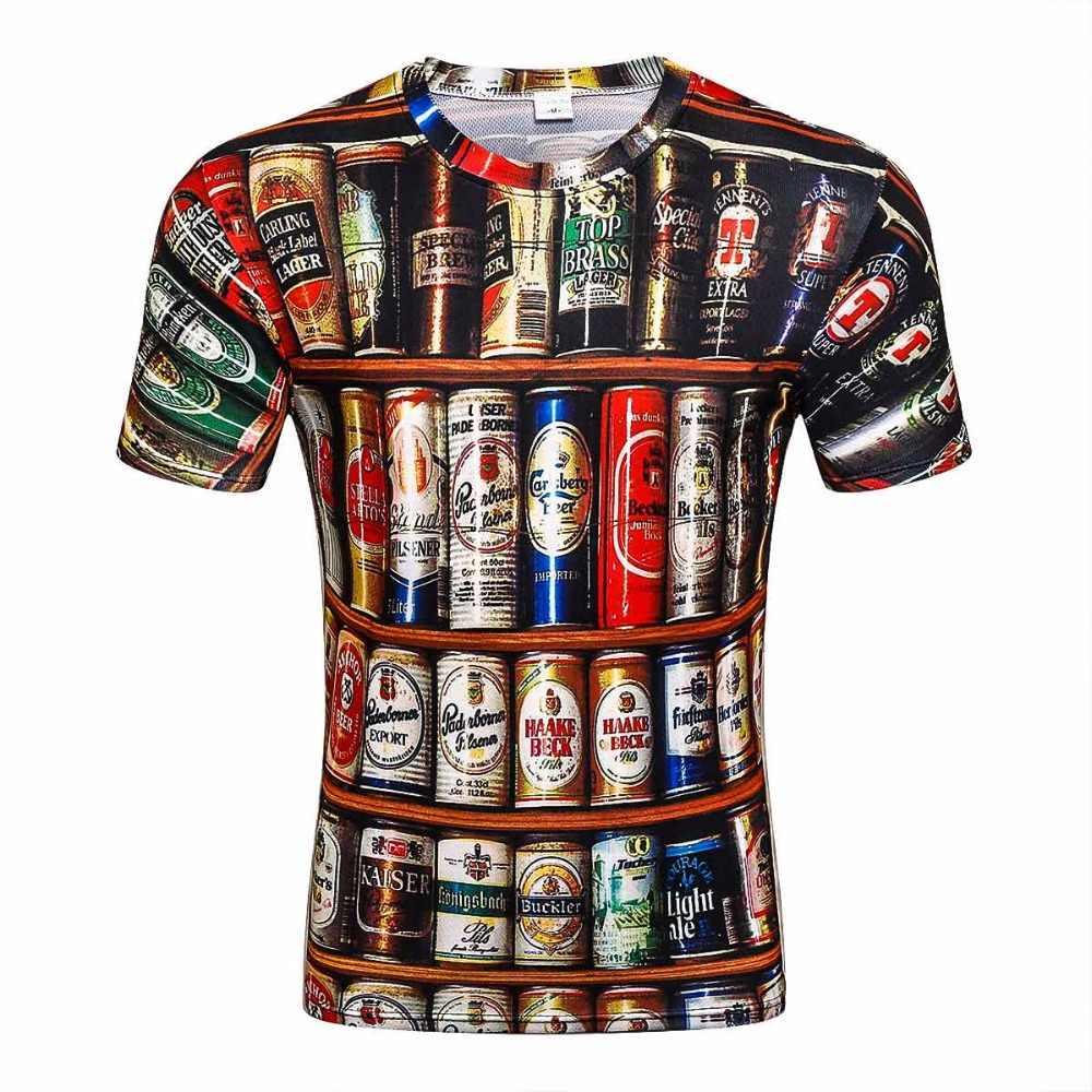 b370cc74f88 2017 Novelty 3D t shirt Men Cans of beer Printed Hip Hop Crewneck short  Sleeve Men