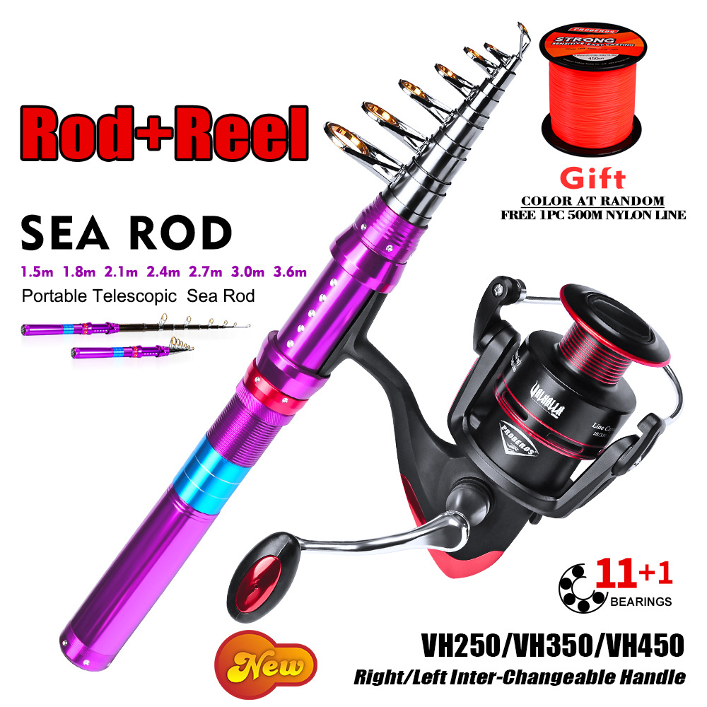 Full Kit Telescopic Fishing Rod + Fishing Reel Spinning Fishing Wheel Sea Rod Combo 1.8-3.6M Rod+reel Fishing Tackle(China)