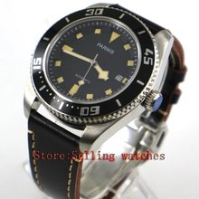 Parnis 43mm black dial luminous sapphire glass metal strap 10ATM MIYOTA 821A Automatic men's watch