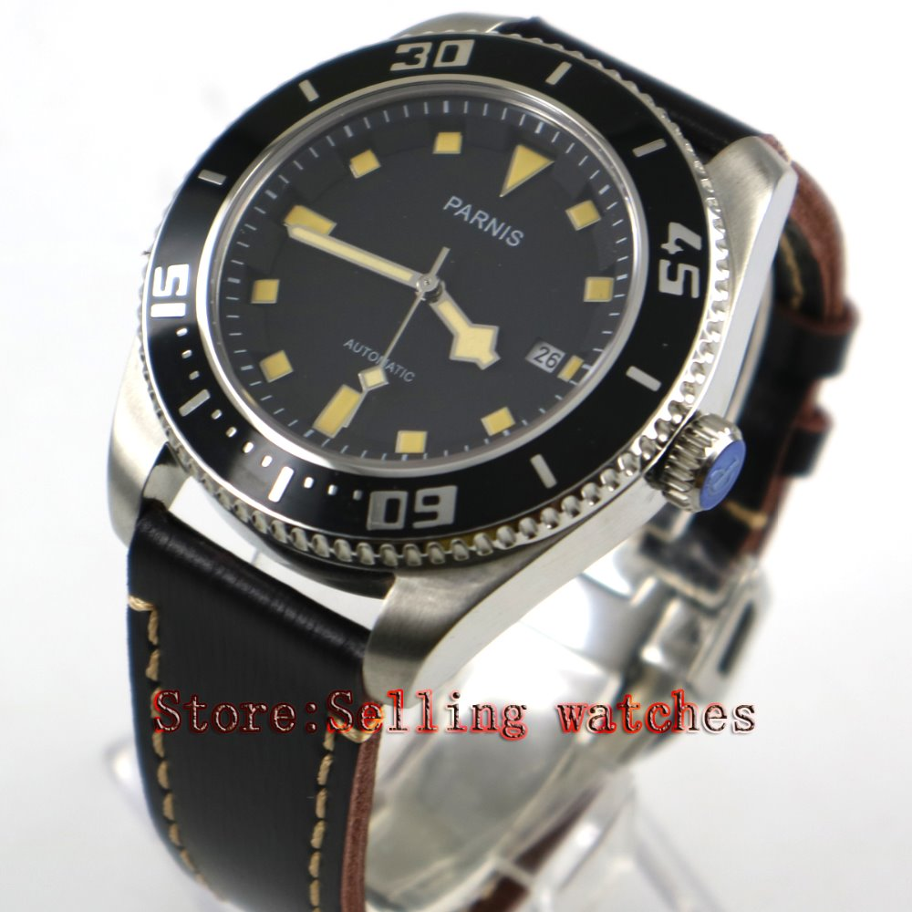все цены на Parnis 43mm black dial luminous sapphire glass metal strap 10ATM MIYOTA 821A Automatic men's watch онлайн
