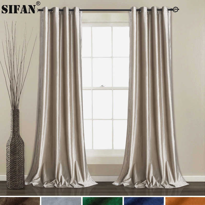 Sparkle Italian Velvet Curtains for Living Room Bedroom Curtains for Window Treatment Drapes Solid Finished Curtains
