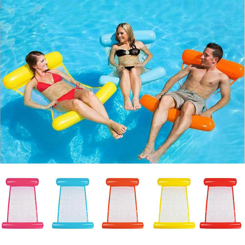 Swimming Water Hammock Bed Inflatable Pool Float Chair 120cmx70cm Lounge Chair Float Beach Lounge Bed Kids Adults